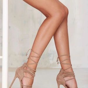 Nasty gal nude wrap up heels